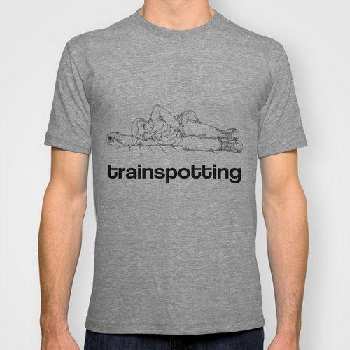 Unisex t-shirt original design Mark Renton Trainspotting S M L white grey