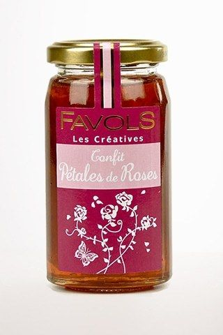 "This jam is made of Rose petals, cane sugar and lemon - wonderful at any time of the day, on toast and crackers or french baguette! Through its ""Créatives"" range, Favols brings tradition and innovatio"