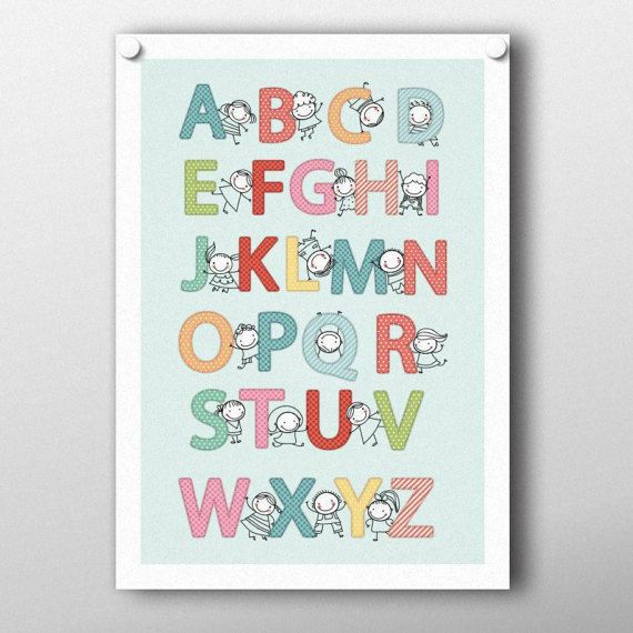 Nursery poster Alphabet color blue...  Ordering this printable poster is easy...  -----------------------------------------------------------------------------------------------------------------------------  This listing is for the poster pictured above in JPG format in the following sizes: ✱ 30x40 cm  11,81x15,75 inches ✱ 45,72x60,96 cm  18x24 inches In JPG and PDF format ✱ A4  (21x29,7cm - 8,27x11,69 inches)…