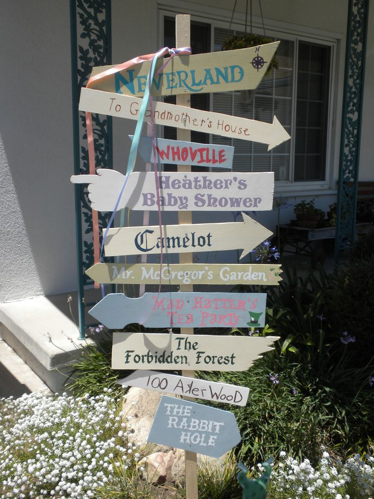 Literary sign post I made for my best friend's Storybook Baby Shower...