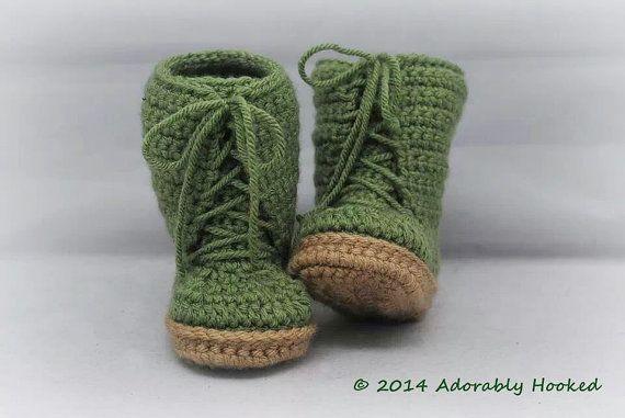 Baby Combat Boots Combrat Booties Crochet Combat by AdorablyHooked, $26.00