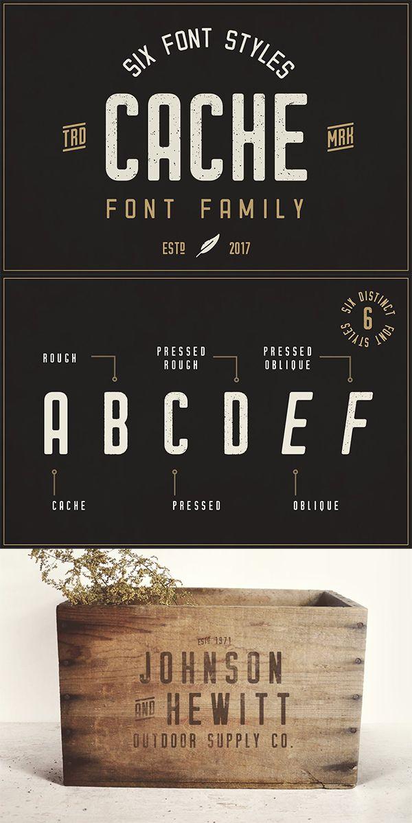 Cache - Vintage Font Family | font | Vintage fonts, Free typography