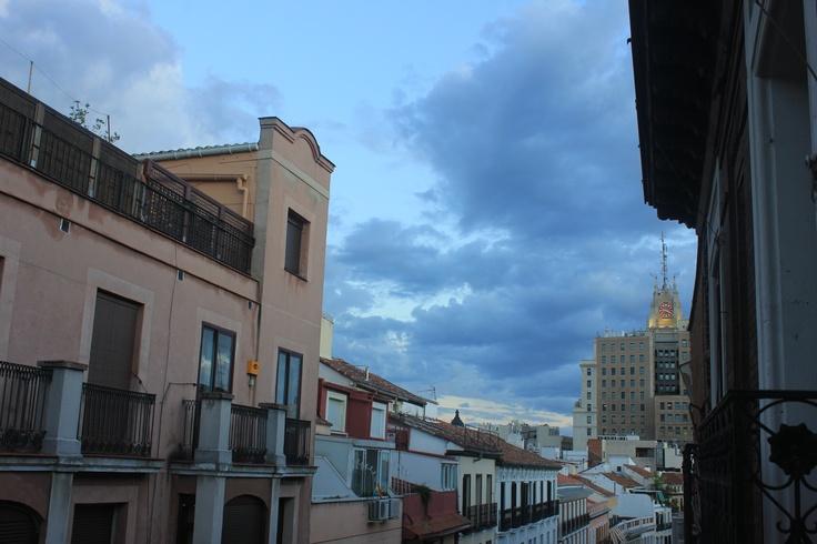 Madrid. Tormenta de verano, edificio Telefónica