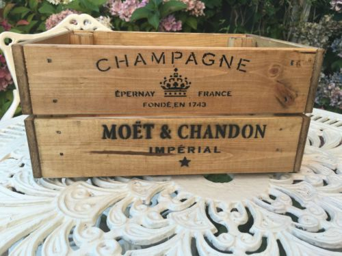 Vintage-Wooden-Moet-amp-Chandon-Champagne-Wine-Crate-Box-Storage-Shabby-Chic-Retro