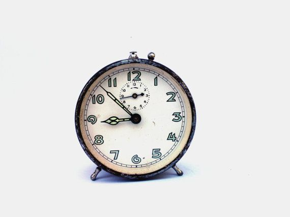 Vintage French metal alarm clock industrial alarm clock brown red rare alarm clock mid century mechanical clock rustic home decor
