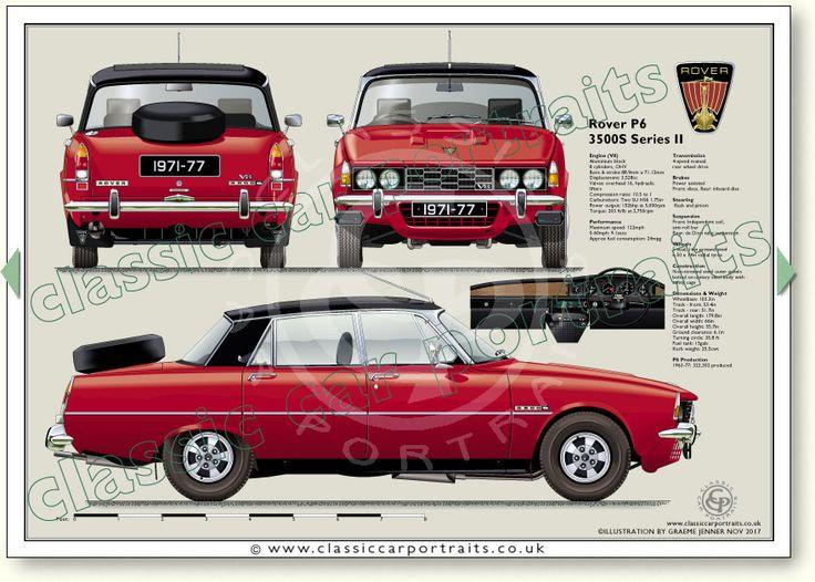 Rover P6 3500S (Series 2) 1971-77 classic car portrait print