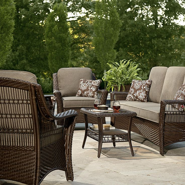 La-Z-Boy Scarlett 4 Piece Seating Set- Grey - Outdoor ... on Porch & Patio Casual Living id=94660