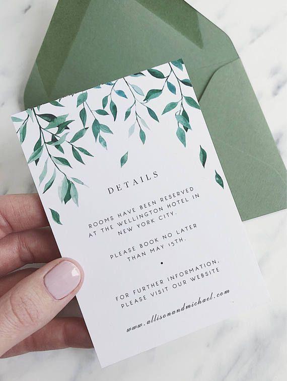 Greenery Wedding Details Card Template Green Leaf Wedding