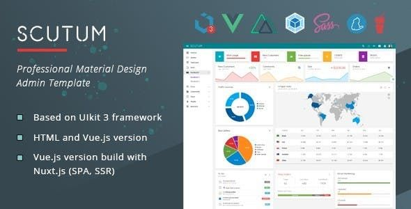 Scutum Admin Is A Professional Html5 Css3 Material Design Template