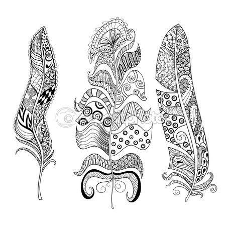 Zentangle estilizado conjunto elegante de plumas. Illu ...