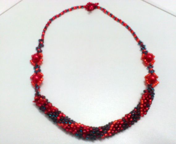 Beaded crocheted necklace in red blue and by CristinaMyCrochet