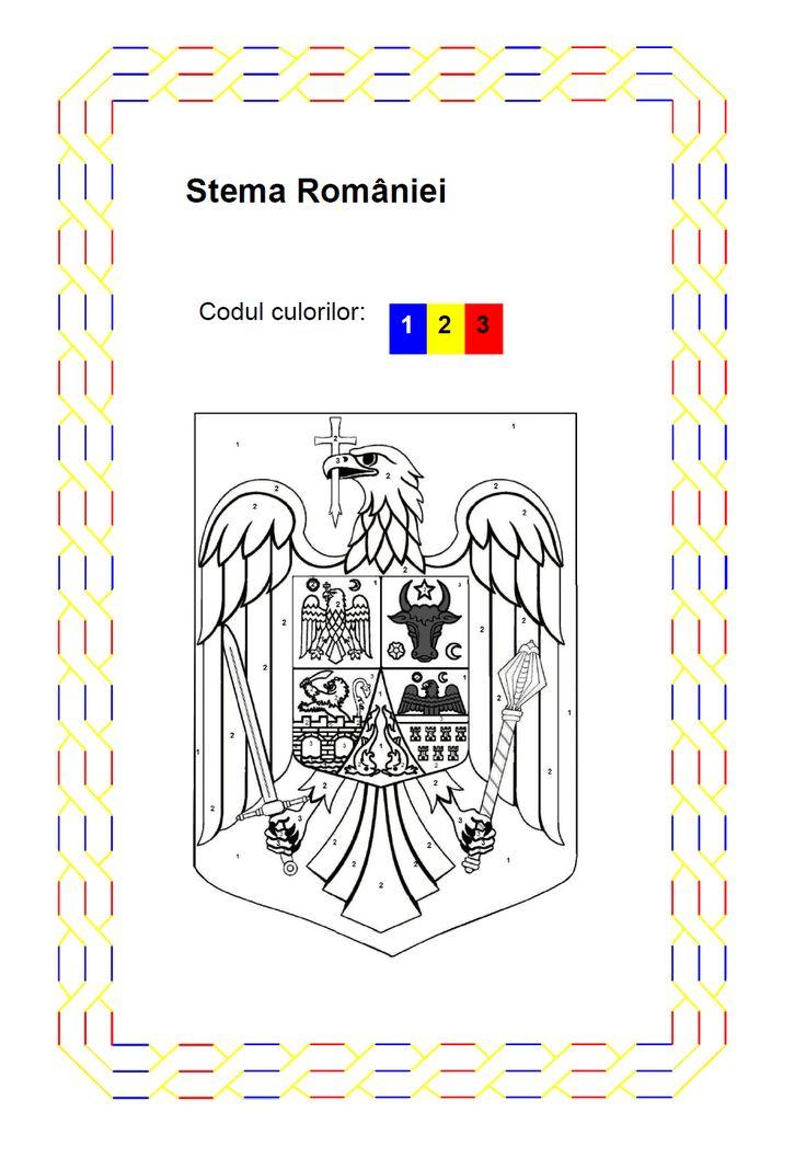 Stema Romaniei - fisa de colorat pe numere