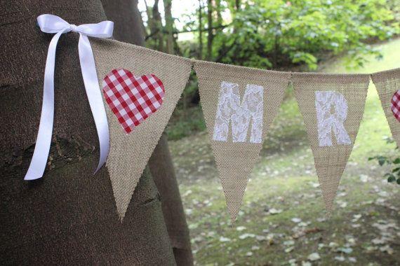 Mr & Mrs wedding banner / bunting hessian burlap flags by SoLuvli