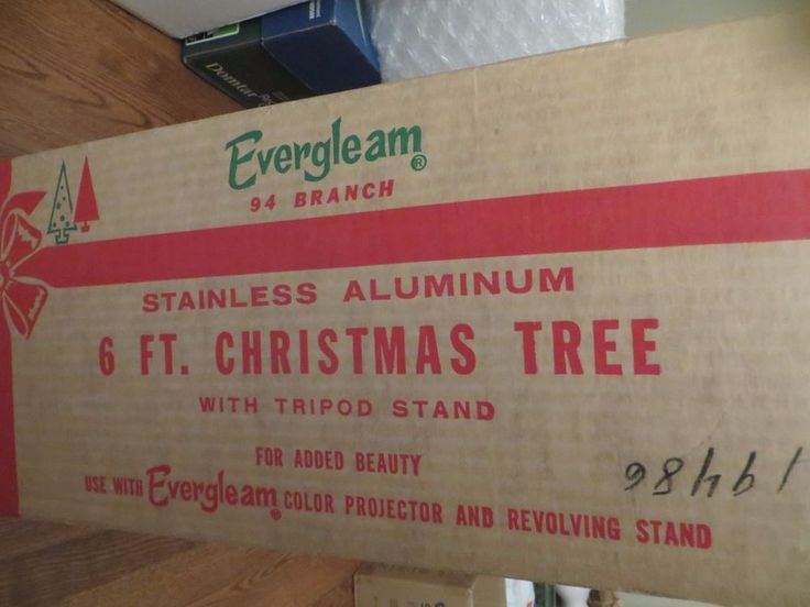 Vintage Evergleam Stainless Aluminum Christmas Tree in Box USA with Tripod Stand