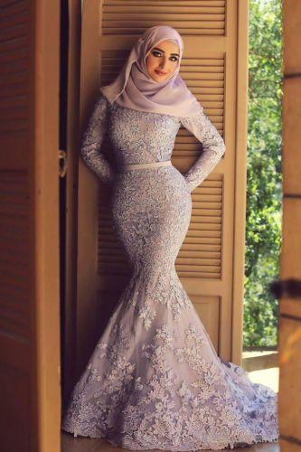 Arabic-Lace-Long-Sleeve-Mermaid-Muslim-Formal-Evening-Prom-Ball-Wedding-Dresses