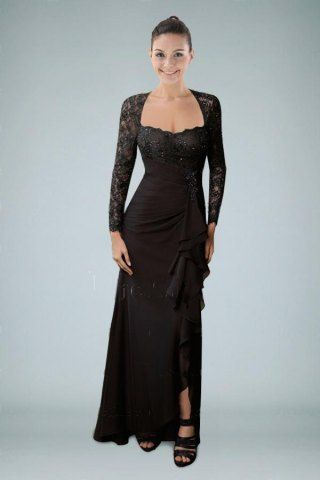 Dignified Black Sheath Mother Dress with Lace