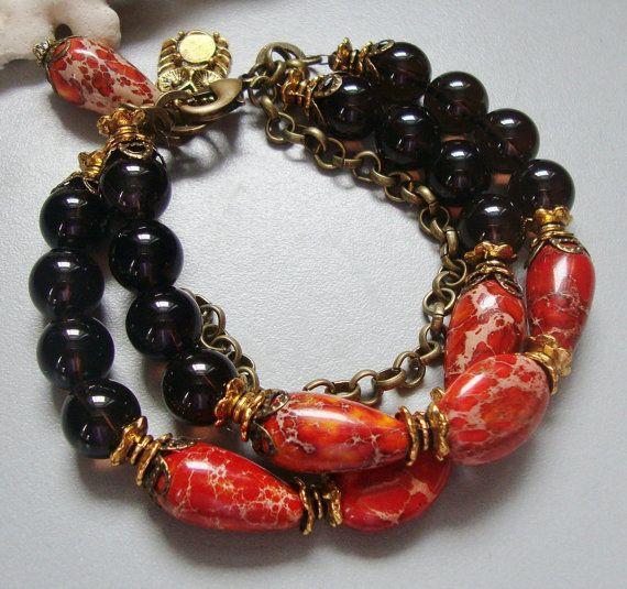 Red Magnesite and Smokey Quartz Bracelet. $53.00, via Etsy.