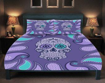 Sugar Skull  Comforter or Duvet Cover Set  Twin, Full, Queen King Bedding Purple Paisley  Day of the Dead, Skull Bedrooms