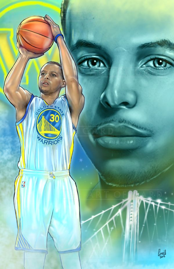 This is an 11X17 artist's print of The Golden State Warriors point-guard, Stephen Curry. The print is signed by the artist and shipped with a backing board and clear bag.  The print is also printed on high quality card stock.