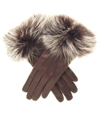 dd8b902d99c Fratelli Orsini Women s Italian Fox Fur Cuff Cashmere LIned Leather Gloves  Size 8 Color Brown