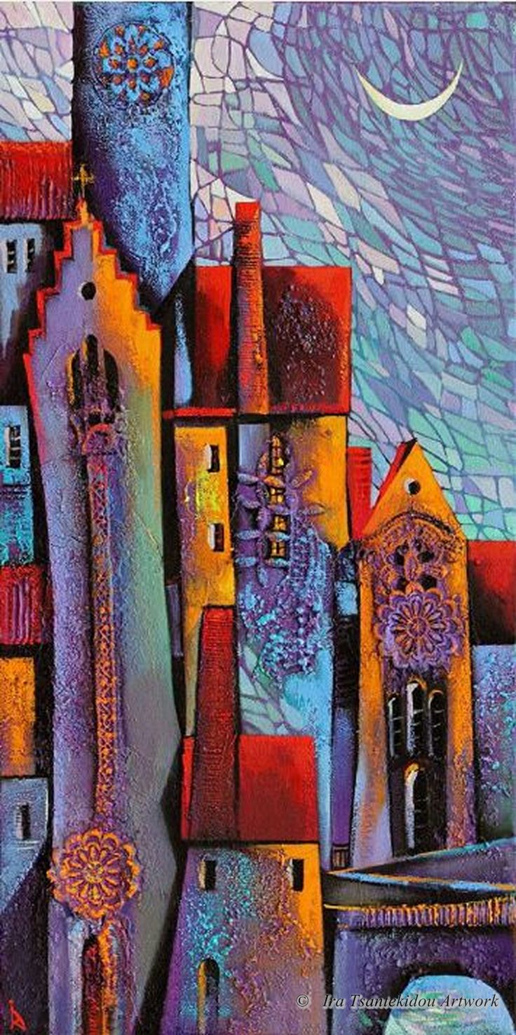 Color art by tec italy - Summer Night By Ira Tsantekidou Oil On Canvas Serie Cities