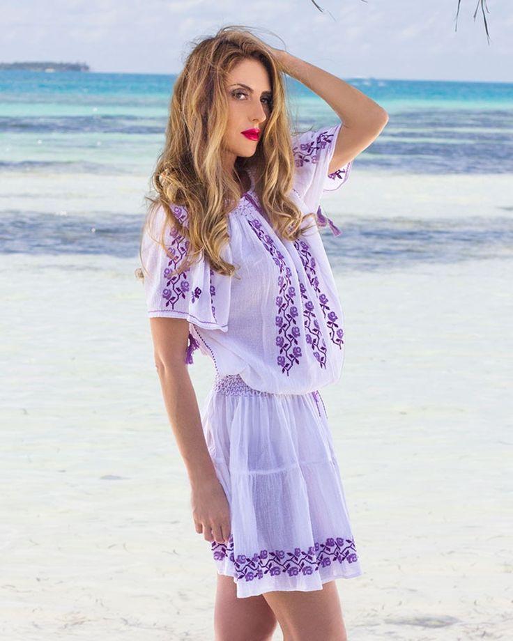 HANDMADE EMBROIDERED DRESS - Viola Motif