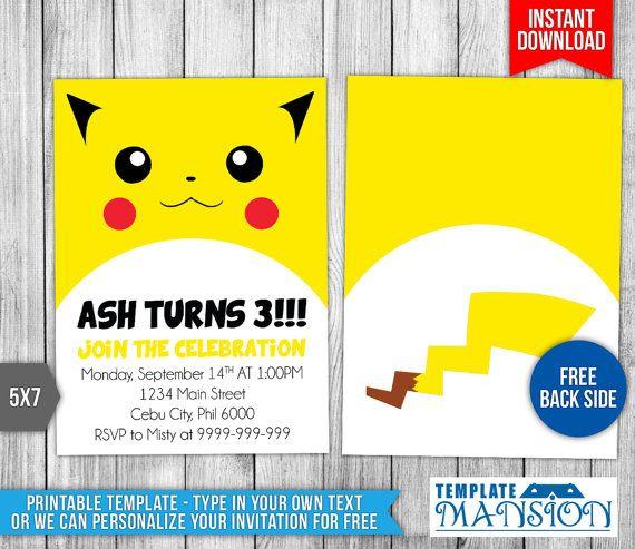 Pokemon Invitation Pikachu Invitation Pokemon by TemplateMansion
