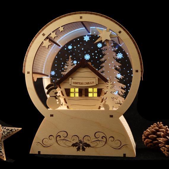 Scandinavian Style Snowglobe Handmade Wooden Ornament