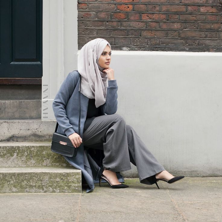 INAYAH | Charcoal Zipper Jacket | Feather Grey Maxi Georgette Hijab | Black…