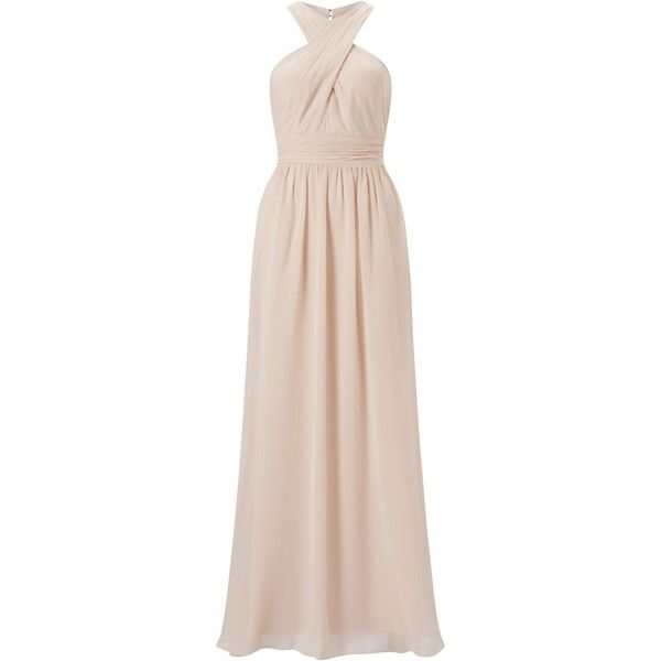 Adrianna Papell Halter Chiffon Open Back Gown, Blush (400 BRL) ❤ liked on Polyvore featuring dresses, gowns, gown, halter maxi dress, maxi dresses, adrianna papell evening dresses, chiffon maxi dress and pink bridesmaid dresses
