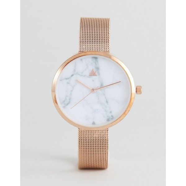 ASOS CURVE Marble Face Mesh Watch ($32) ❤ liked on Polyvore featuring jewelry, watches, copper, plus size, asos curve, gold-tone watches, marble jewelry, party jewelry and crown jewelry