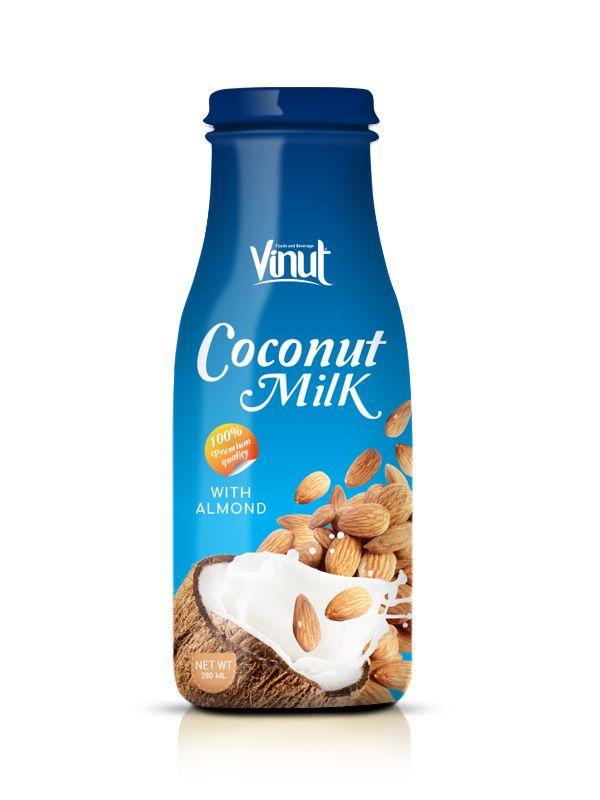 Manufacturer_Glass_bottle_Premium_Quality_Coconut_milk_with_Almond_flavour_280_ml