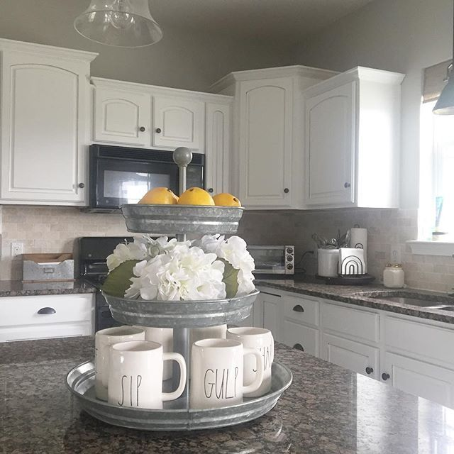 Farmhouse Style Kitchen Galvanized Steel White Cabinets And Rae Dunn