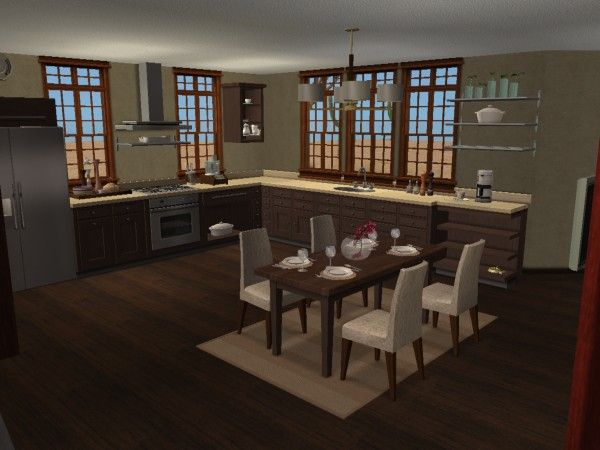 Modern urban loft style kitchen and dining virtual home for Sims 3 kitchen designs