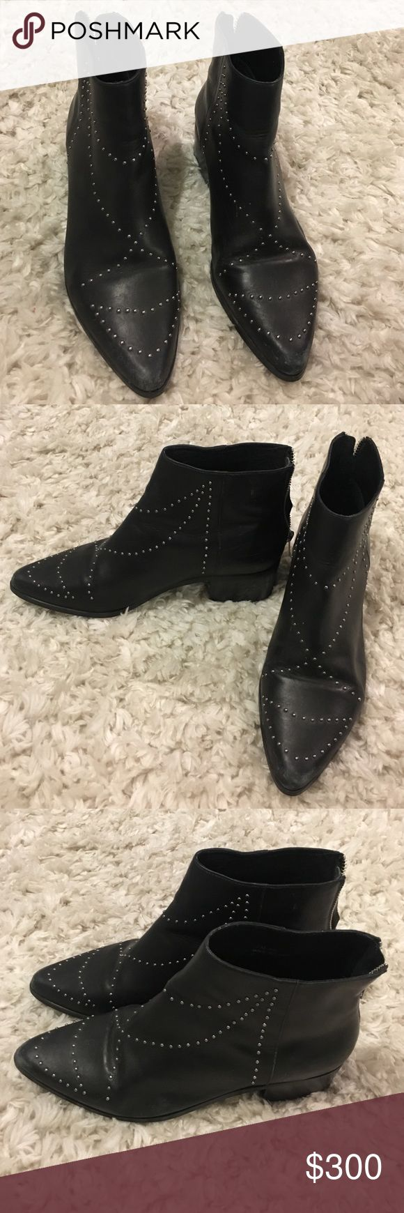 Free People Boots Black studded free people boots. A little over the ankle. Used about 3 times. Free People Shoes Ankle Boots & Booties