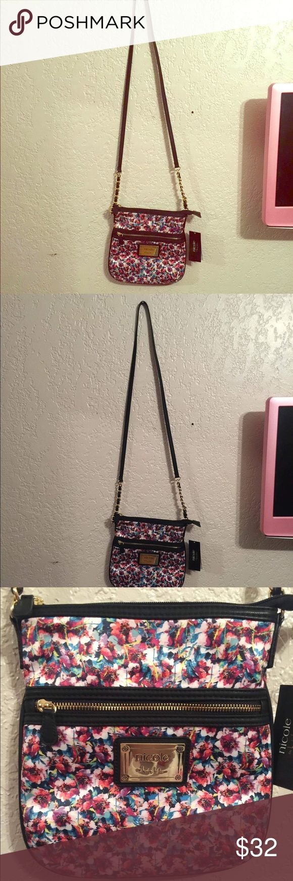 NWT Nicole by Nicole Miller floral crossbody purse Brand new with tags! This purse really gives me Betsey Johnson vibes. I love it. Super cute pattern that will match just about everything! Also has adorable gold chain detailing (as pictured). Price is firm. Was originally $50. Nicole by Nicole Miller Bags Crossbody Bags
