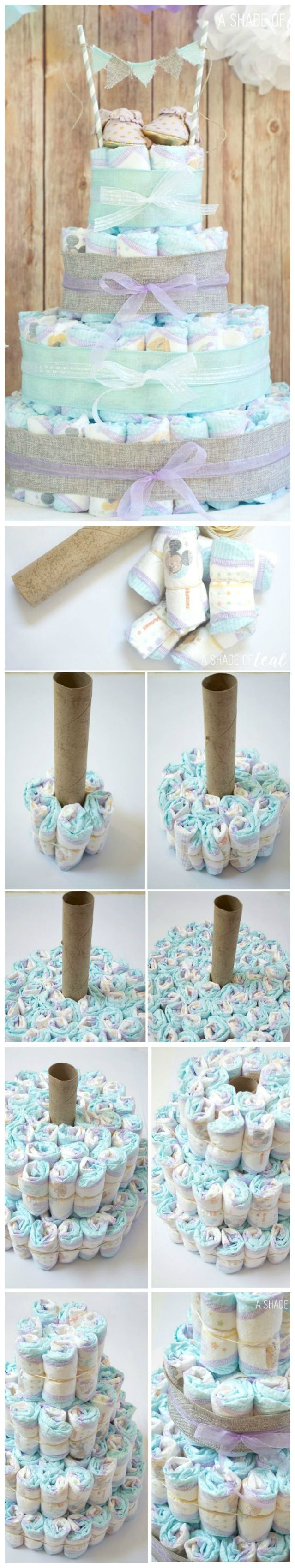 How To Make a Rustic Glam Diaper Cake ~ Making diaper cakes is so much fun, especially when you can make it unique to fit the new mom's style.