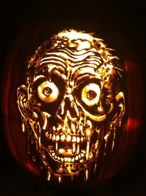 Zombie pumpkin carved by marshiekins carving