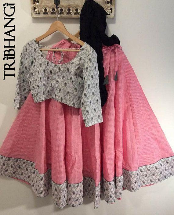 Pink/black/white gopi skirt, panel skirt_etsy_tribhangi