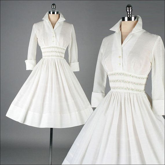 Vintage 1950s Dress . White Cotton . French by millstreetvintage