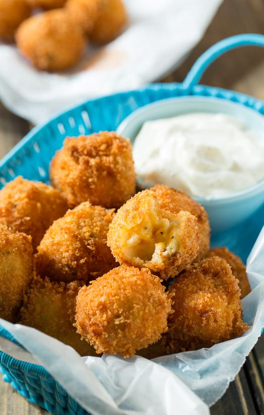 Fried Mashed Potato Balls with ranch dip. Great for using Thanksgiving leftovers.