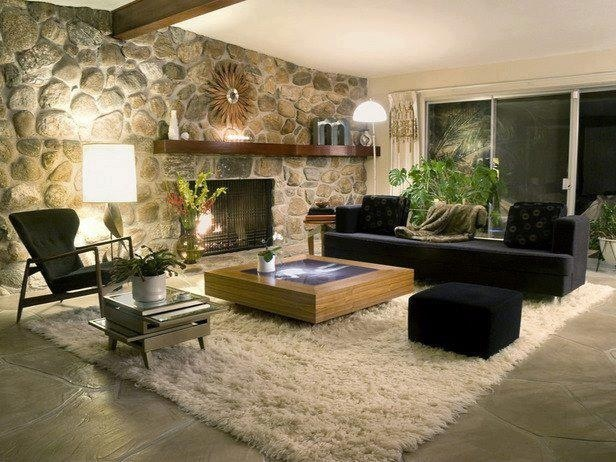 Decoration  Rustic Modern Home Decorating Idea With Natural Rock Accent  Wall Also Potted Indoor Plant Feat Black Sofa Design And Fur Area Rug   Various Home  249 best Vintage Living Rooms images on Pinterest   Vintage living  . Black Sofas Living Room Design. Home Design Ideas
