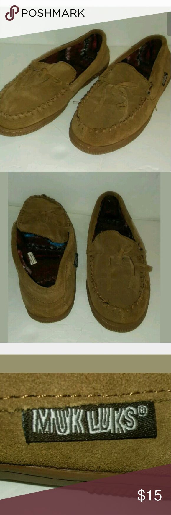 Muk Luks size 9 loafers Muk Luks Mocassin Men Tan Loafer Slipper Shoes Cow Suede Size 9 Polyester Lining Muk Luks Shoes Loafers & Slip-Ons
