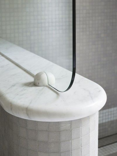Love this Art Deco inspired shower screen in modern bathroom | SJB Interiors