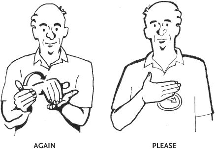 ASD sign language Again, and please  American Sign Language Phrase Book, Third Edition, by Lou Fant and Barbara Bernstein Fant, illustrations by Betty G. Miller, The McGraw-Hill Companies    Read more: http://www.answers.com/library/American+Sign+Language-letter-1C#ixzz23G4eFmIo