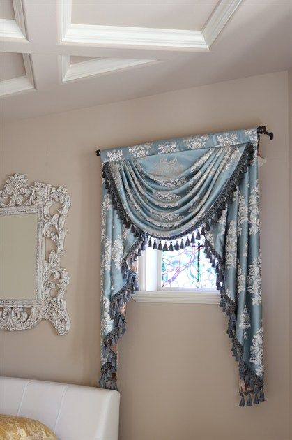 Glacial Swan swag valance curtains This stunning valance brings a refreshing yet noble lustre to the surrounding. The silky fabric reminds of a herd of graceful swans floating on a peaceful glacial lake under clean blue sky. http://www.celuce.com/p/194/glacial-swan-swag-valance-curtains