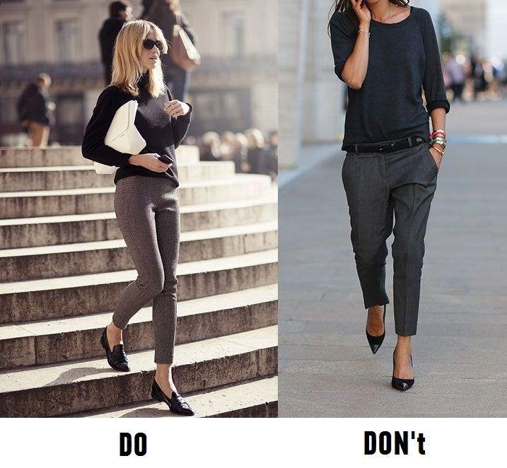 Удлинить ноги в укороченных брюках можно за счет высокой линии талии. Не обязательно специально ее завышать - пусть будет там, где она есть на самом деле. Главное - не занижать. #stylebugs #style #mistakes #doandont #howto #short #pants #waist #culottes