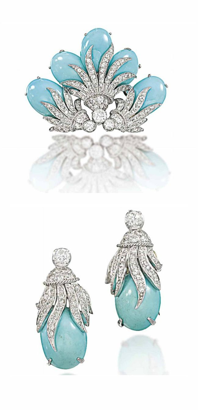 A TURQUOISE AND DIAMOND SUITE   Of foliate design, the brooch composed of five cabochon turquoise buds to a curling pavé-set circular-cut diamond leaf design surmont, with earrings of matching design, circa 1950, 5.0cm wide and 3.5cm long respectively, earrings may also be worn as clip brooches
