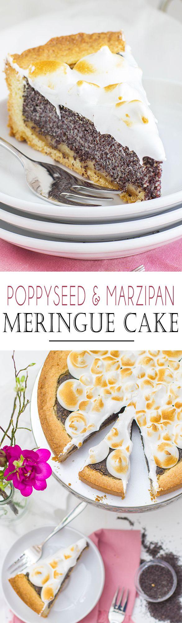 Poppyseed and Marzipan Meringue Cake   Mohn und Marzipan Kuchen mit Baiser