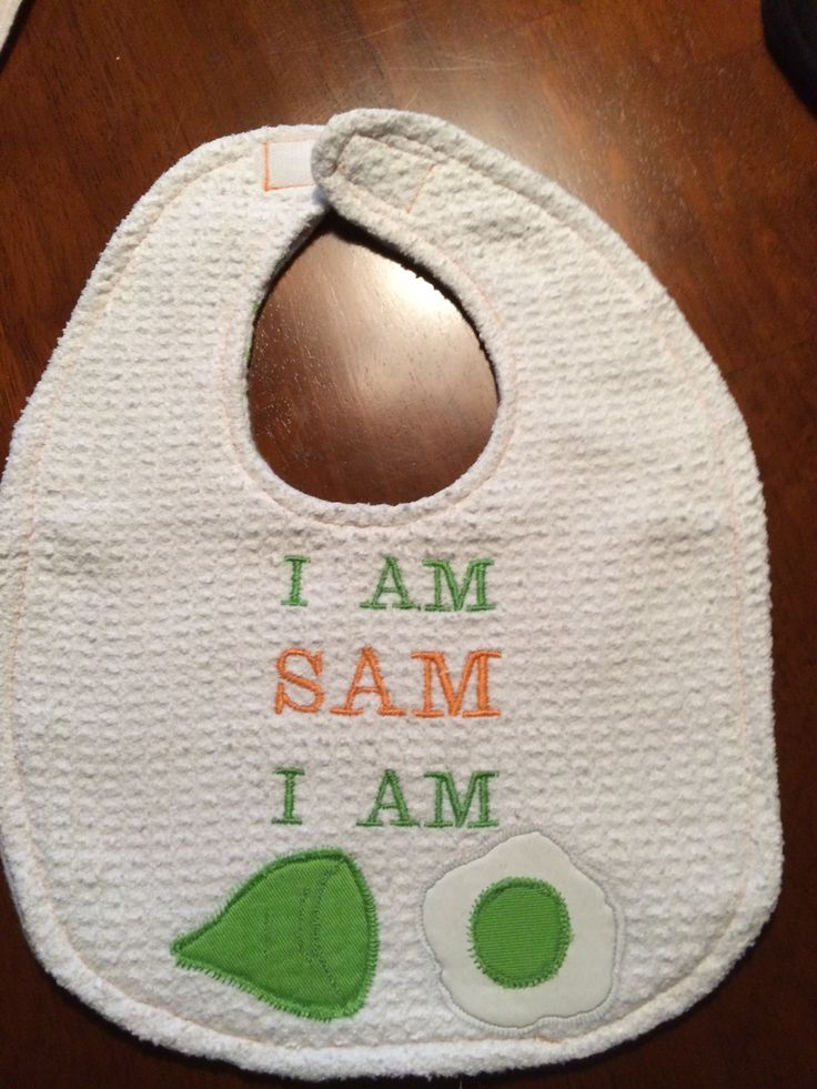"Who doesn't like green eggs and ham? Embroidered with eggs & ham appliques. Approximate size 9""W x 11""L ...$10"